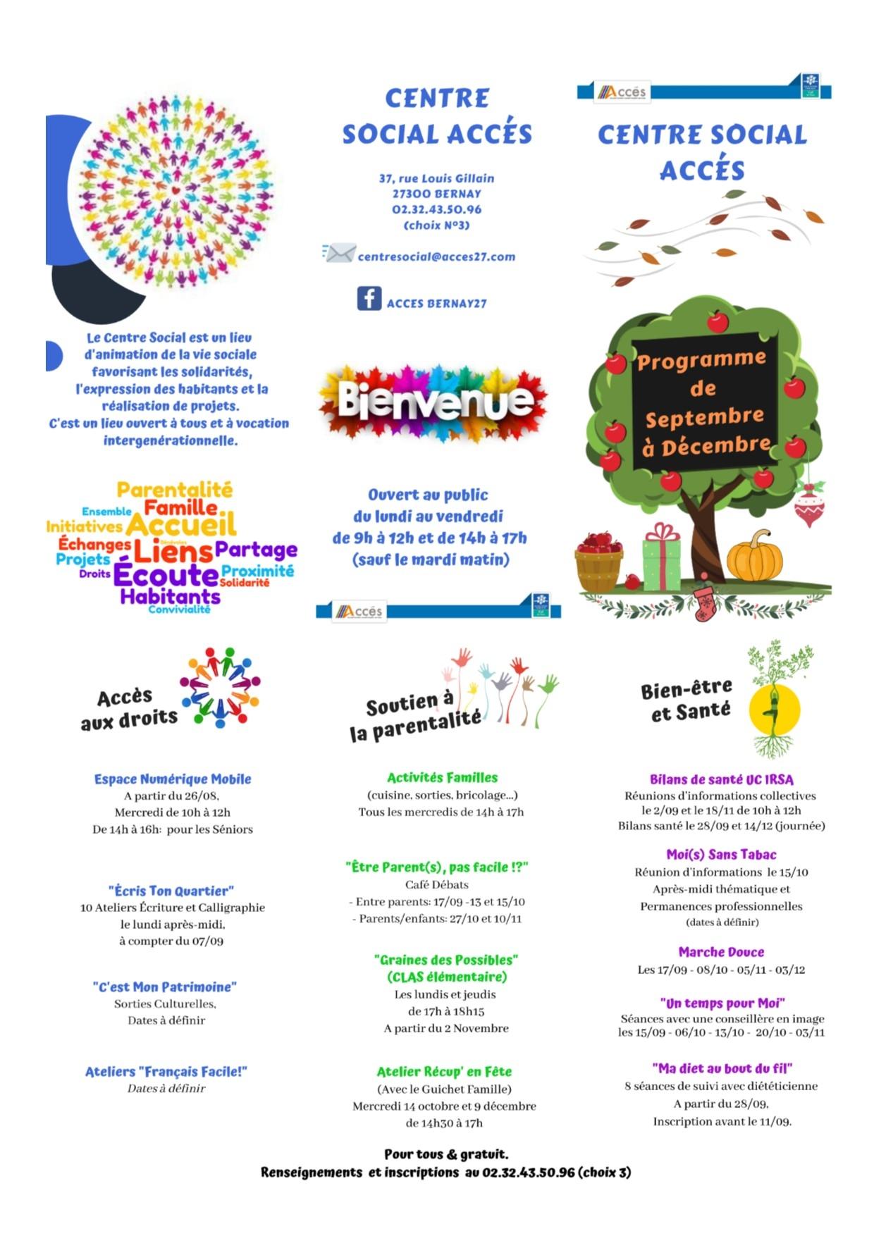 Retrouvez le programme des animations du Centre social ACCES- Septembre à Décembre 2020